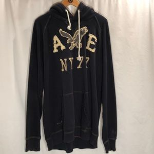 American Eagle navy hooded sweatshirt Sz XLT
